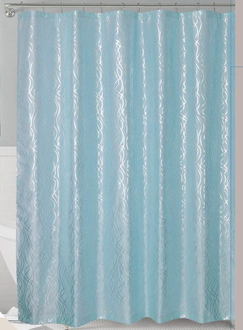 Aqua/Silver Metallic Cadena de Plata Faux Silk Fabric Shower Curtain with Hooks