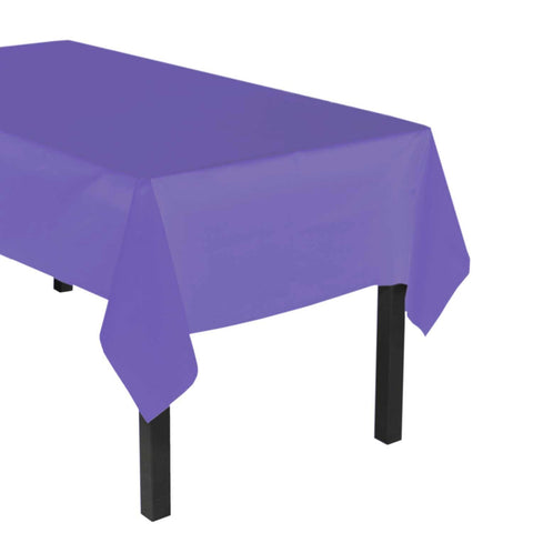 "Party Central Reusable Waterproof Plastic Rectangular Tablecover (54"" x 108"") - Purple"
