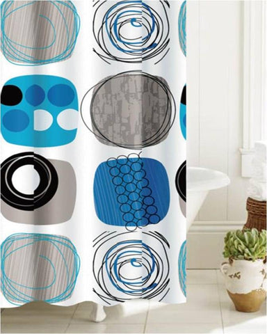 "Royal Bath Abstract Coils PEVA Non-Toxic Shower Curtain (70"" x 72"") with 12 Roller Hooks"