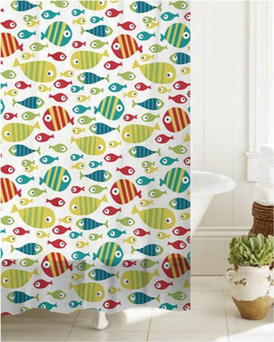 "Royal Bath Bath Time Fishy PEVA Non-Toxic Shower Curtain (70"" x 72"") with 12 Roller Hooks"