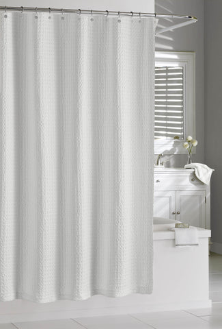 "Royal Bath 100% Cotton White Palomitas Shower Curtain (72"" x 72"")"