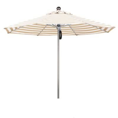 Eclipse Collection 9'SSteel SinglePole FGlass Ribs M Umbrella SV Anodized/Olefin/Khaki-Beige Stripe