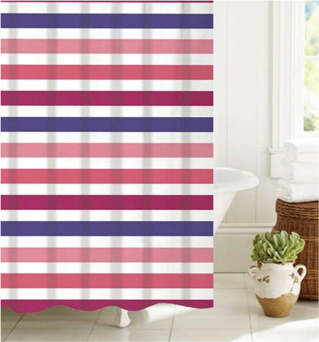"Royal Bath Summer Stripe PEVA Non-Toxic Shower Curtain (70"" x 72"") with 12 Roller Hooks"