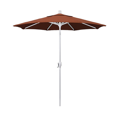 Eclipse Collection 7.5' Aluminum Market Umbrella Push Tilt Matte White/Sunbrella/Canvas Brick