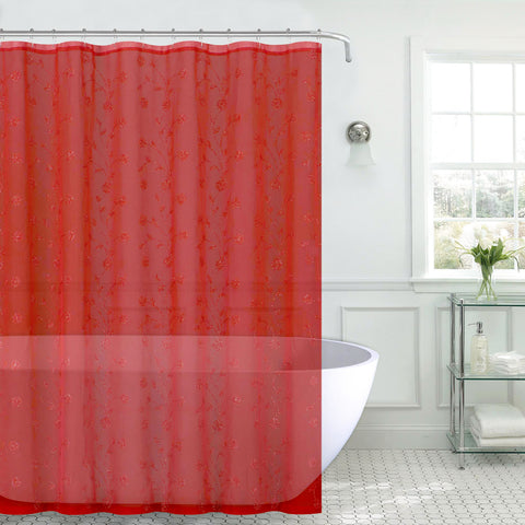 "Royal Bath Metallic Daisy Embroidered Sheer Fabric Shower Curtain (70"" x 72"") with Roller Hooks - Red/Silver"