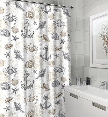 "Royal Bath Spirit of the Sea Canvas Fabric Shower Curtain (70"" x 72"") - Cape May Taupe"