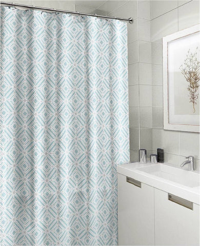"Royal Bath Get Squared Mosaico Canvas Fabric Shower Curtain (70"" x 72"") - Turquoise"
