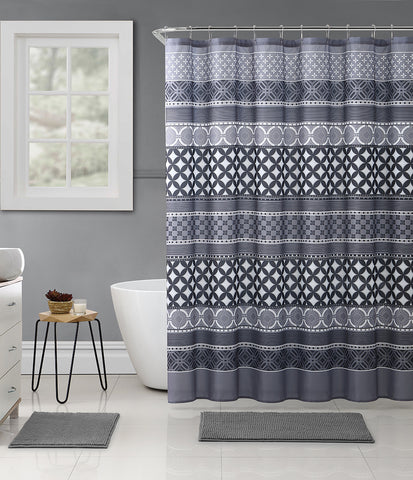 "Royal Bath Shades of Grey Contempo Mosaic Embossed Microfiber Fabric Shower Curtain - 72"" x 72"""