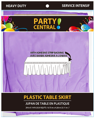 "Party Central Heavy Duty Plastic Table Skirt with Adhesive Backing (14'L x 29"" Drop) - Lilac"