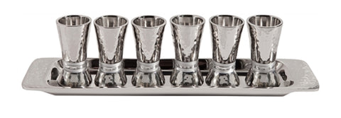 Ben and Jonah Liquor Shot Cups Set-6 with Tray-Highly Polished Hammered Nickel-Silver Rings