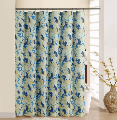 "Royal Bath Waverly Watercolor Leaves Fabric Shower Curtain (70"" x 72"")"