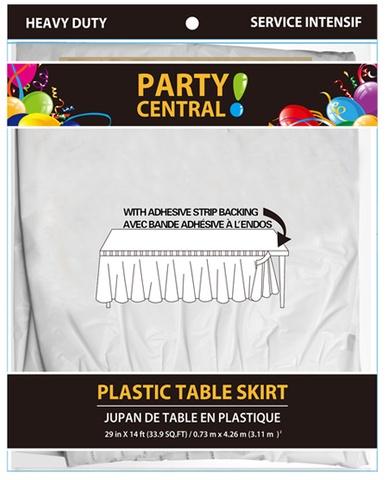 "Party Central Heavy Duty Plastic Table Skirt with Adhesive Backing (14'L x 29"" Drop) - White"