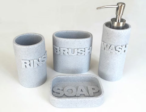Royal Bath 4 Piece Wash Time Ceramic Bathroom Accessory - Includes 1 Lotion Dispenser/Soap Pump, Tumbler, Toothbrush Holder and Soap Dish - Grey