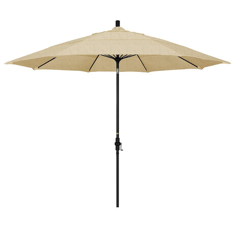 Eclipse Collection 11' Fiberglass Market Umbrella Collar Tilt DV Matt Black/Sunbrella/Linen Champagne
