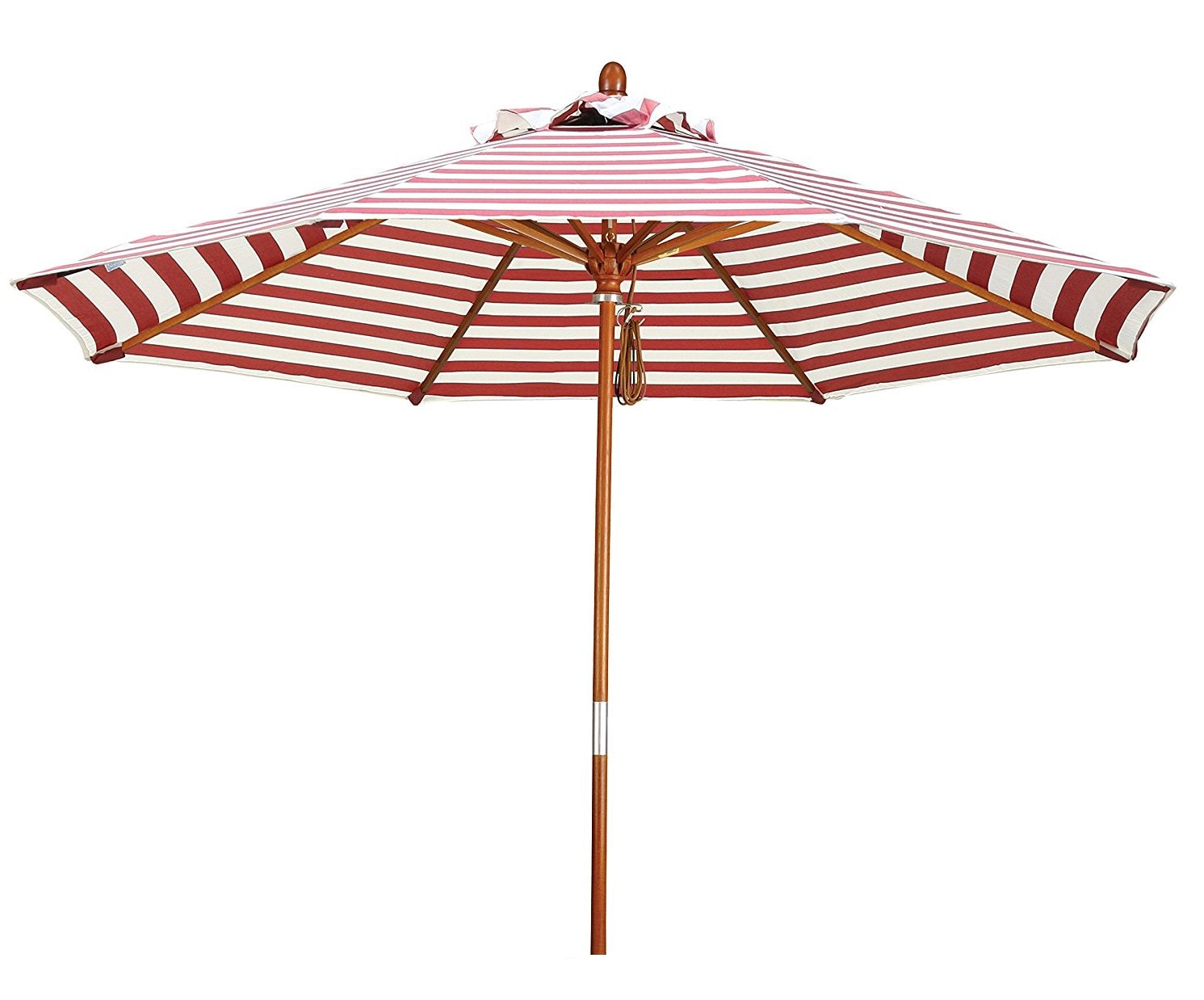 Eclipse Collection 9' Wood Market Umbrella Pulley Open Marenti Wood/Olefin/Red-Natural Stripe