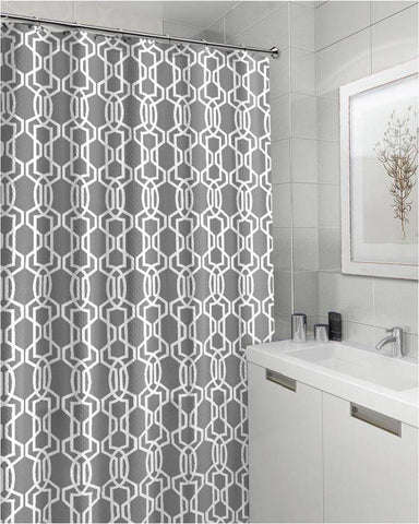 "Royal Bath Grey Geometric Canvas Fabric Shower Curtain (70"" x 72"")"
