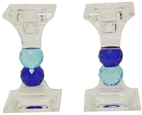 "Ben and Jonah Sabbath/Shabbos Crystal Candlesticks- Blue and Light Blue- 4.75"" H 2.5"" L"