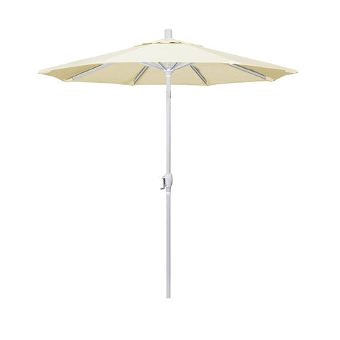 Eclipse Collection 7.5' Aluminum Market Umbrella Push Tilt Matte White/Sunbrella/Canvas Vellum