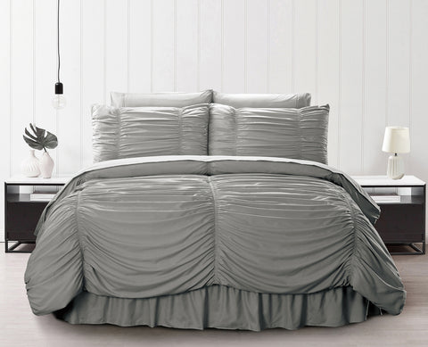 "Simple Elegance by Ben&Jonah Ruffled Frills 8 Piece King Size Down Alternative Comforter Set (102"" x 86"") - Grey"