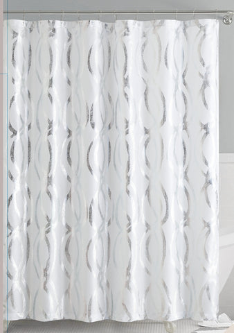 White Silver Metallic Sparks Faux Silk Fabric Shower Curtain With Roll Benjonah