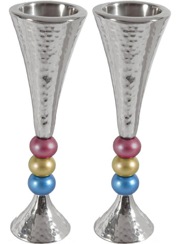 "Ben and Jonah Sabbath/Shabbos Metal Candlesticks -Anodized Aluminum Beaded Stem Hammered Candlesticks - Silver/Multicolor - 2.3"" x 7""H"
