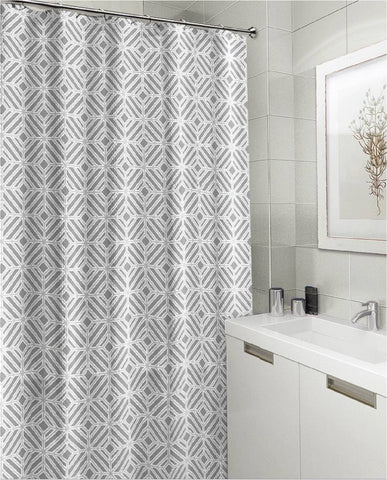 "Royal Bath Get Squared Mosaico Canvas Fabric Shower Curtain (70"" x 72"") - Grey"