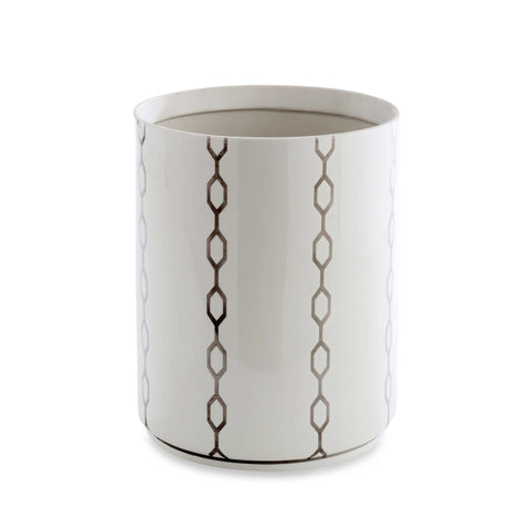 "Royal Bath Chain Reaction Porcelain Waste Basket (9""H x 7.5""Dia)"