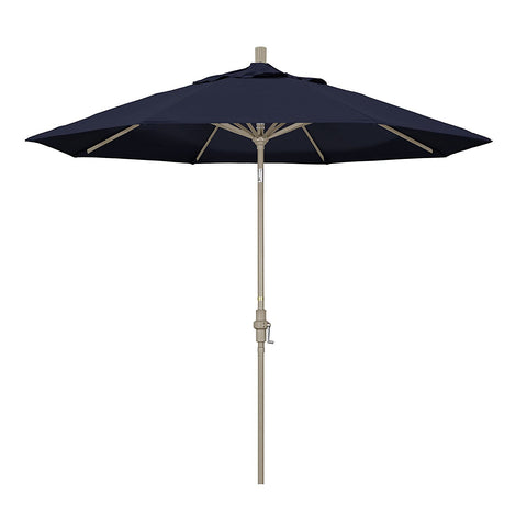 Eclipse Collection 9' Aluminum Market Umbrella Collar Tilt - Sand/Pacifica/Navy Blue
