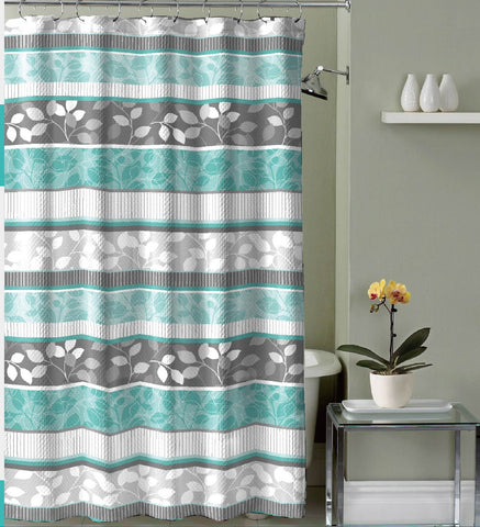 "Royal Bath Abstract Floral Canvas Fabric Shower Curtain (70"" x 72"") with Roller Hooks -"