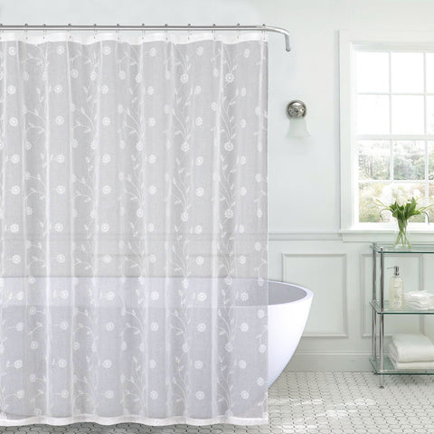 "Royal Bath Metallic Daisy Embroidered Sheer Fabric Shower Curtain (70"" x 72"") with Roller Hooks - White/Silver"