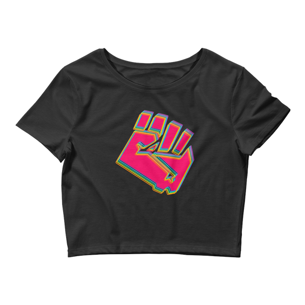 Hot Pink Rebel Full Fist Crop Tee