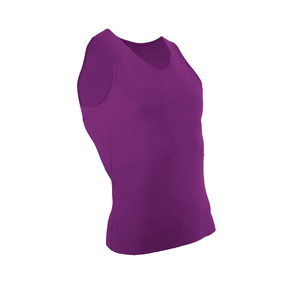 Front view of a purple tank binder.