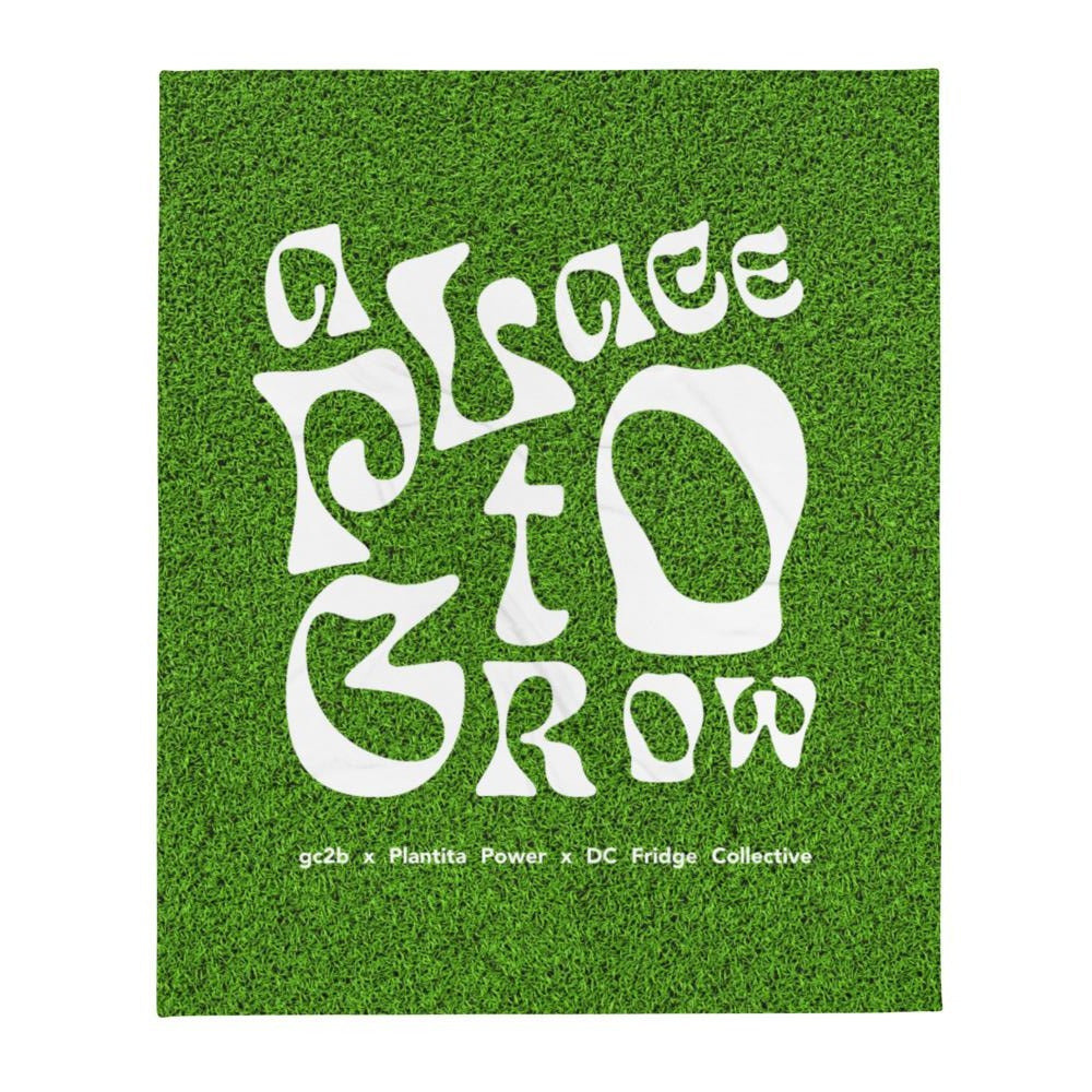 """A Place to Grow"" Logo on Grass Throw Blanket"