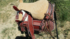 Montura Albarda Charra color Guinda. Mexican Charro Saddle