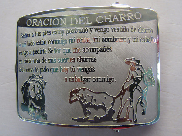 "Hebilla  ""Oracion del Charro"". Belt Buckle"