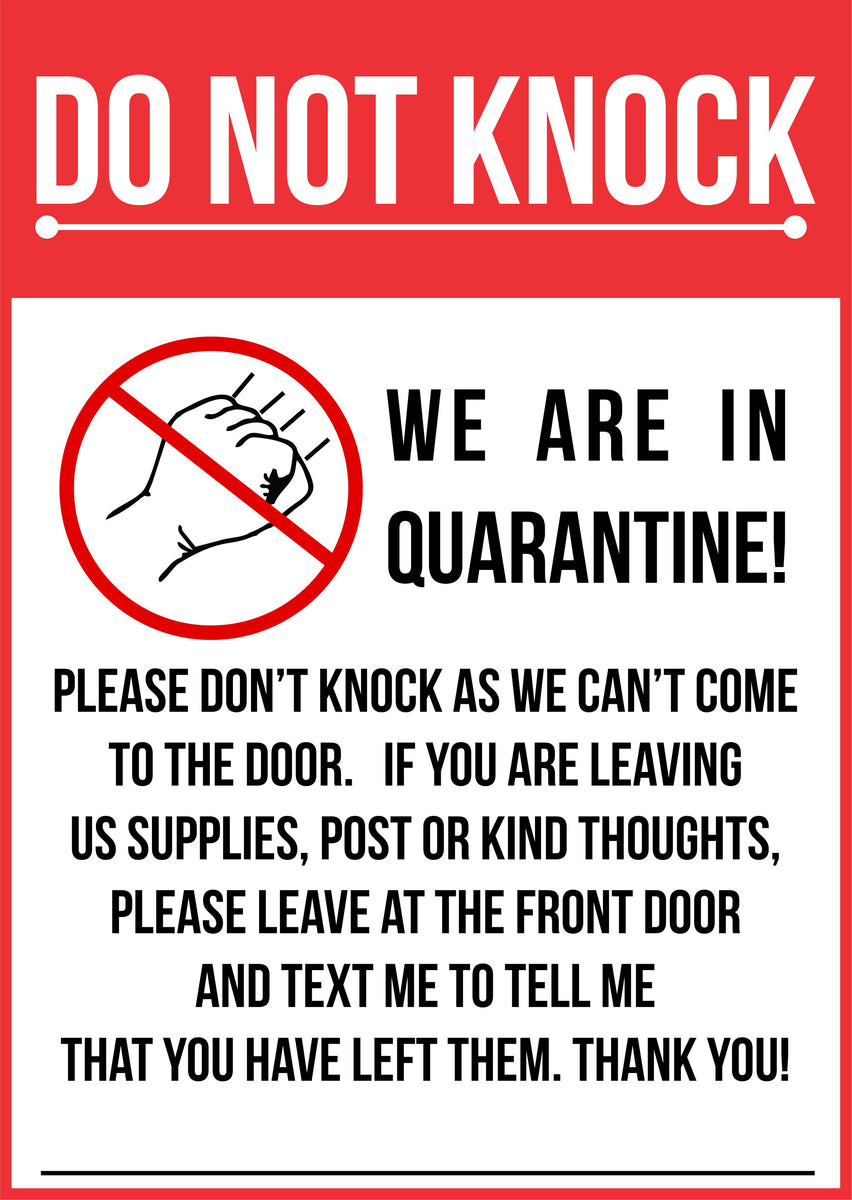 This is an image of Modest Quarantine Sign Printable