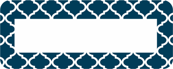 Quatrefoil Navy Label