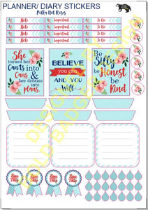 Polka Dot Floral Planner Sticker