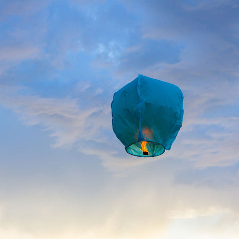 Flying lantern made of rice paper in Canada
