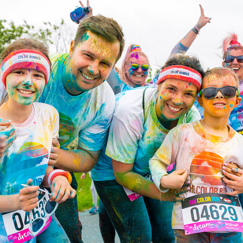 Canadian family at a colour run in Canada