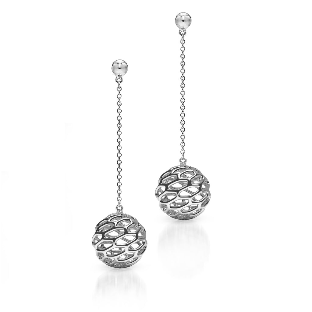 The HIVE Drop Earrings | Platinum Sterling
