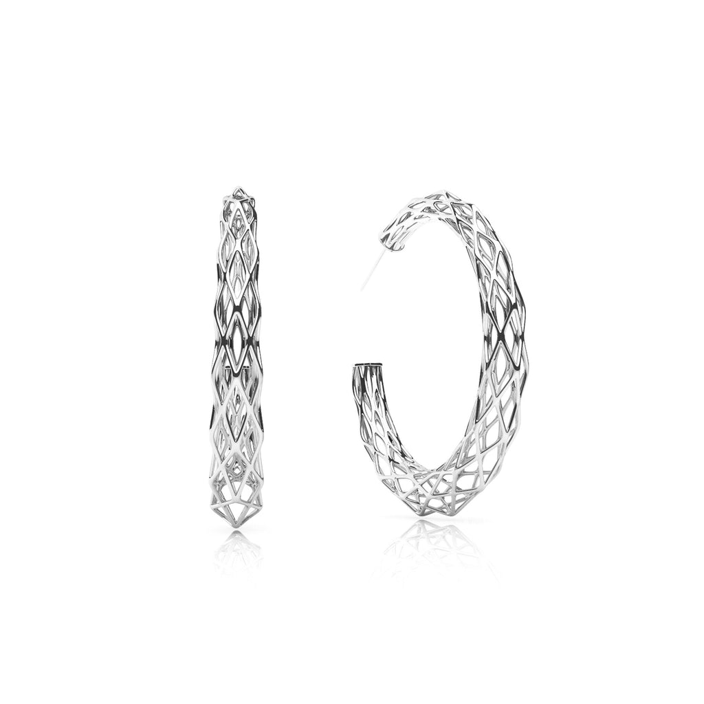 The GRID Earrings | Halo | Platinum Sterling
