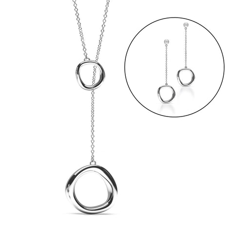 The FLOW Lariat Set | Platinum Sterling