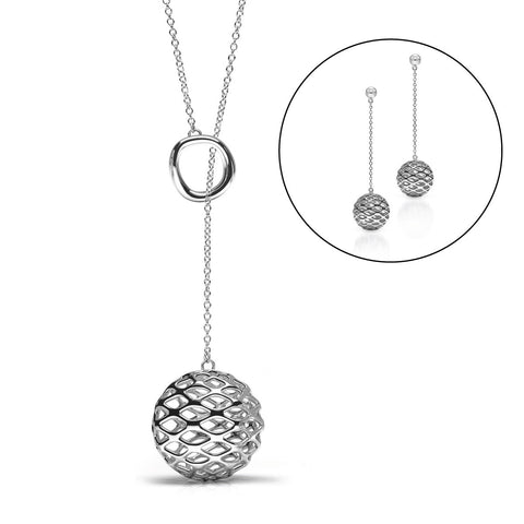 The GRID Lariat Set | Platinum Sterling