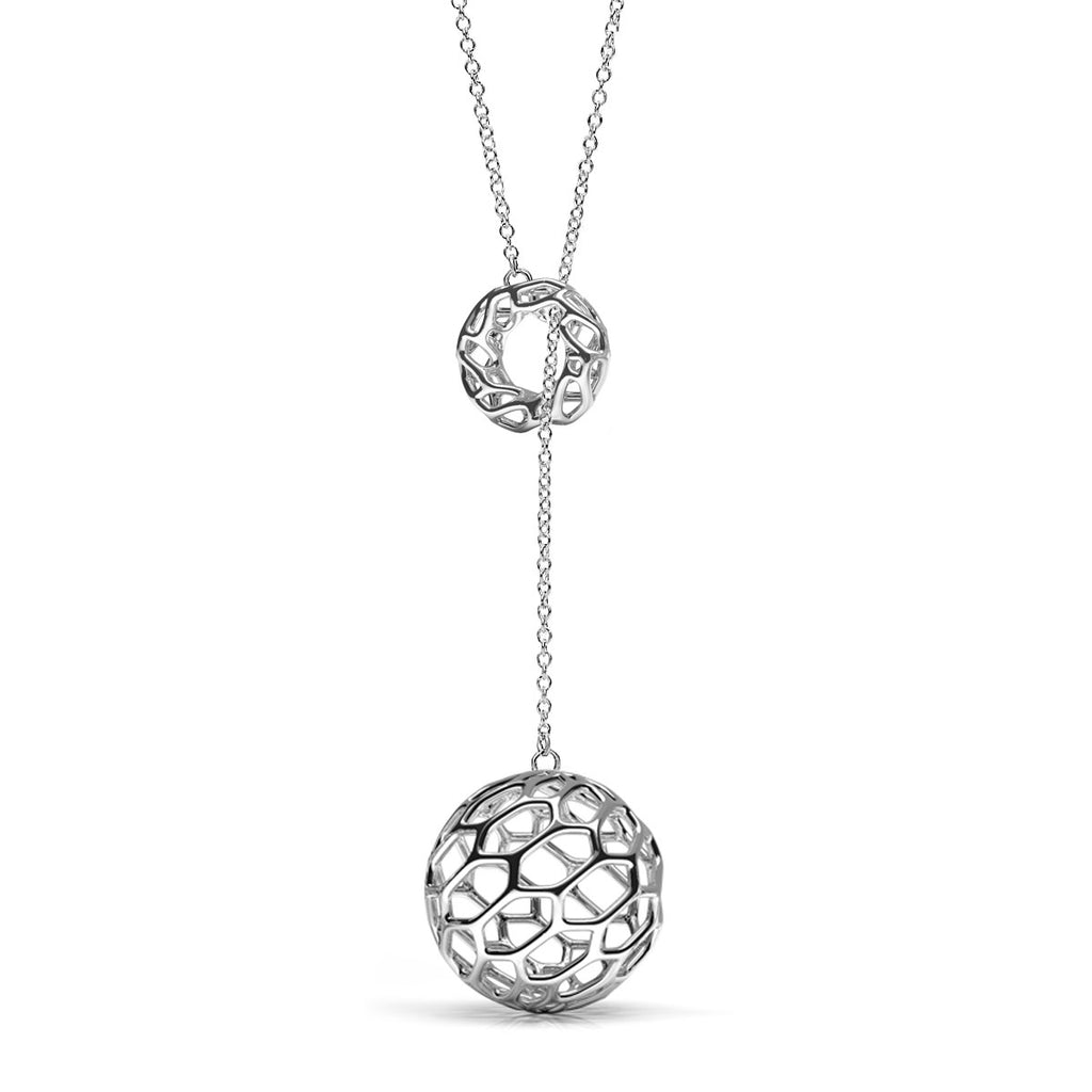 The HIVE Lariat Necklace | Platinum Sterling
