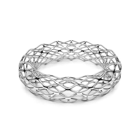 The GRID Bangle Double Slim in 3D Printed Platinum Finished 925 Sterling SIlver