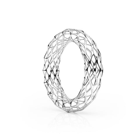 The GRID Bangle | Double Slim | Platinum Sterling