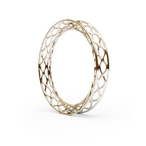 The GRID Bangle Flared in 3D Printed 18k Gold Finished 925 Sterling SIlver