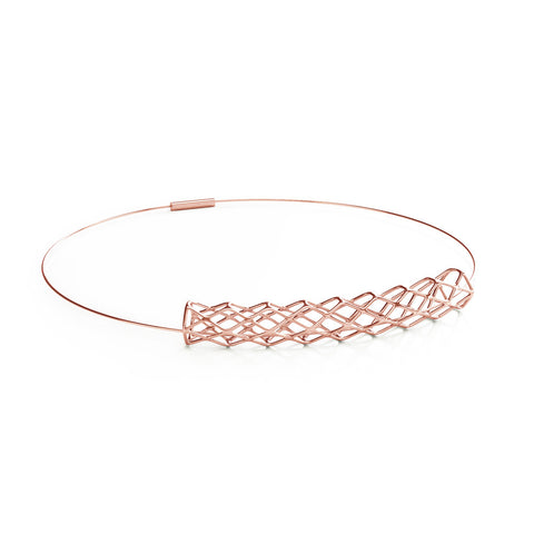The GRID Necklace Collar in 3D Printed 18k Rose Gold Finished 925 Sterling SIlver