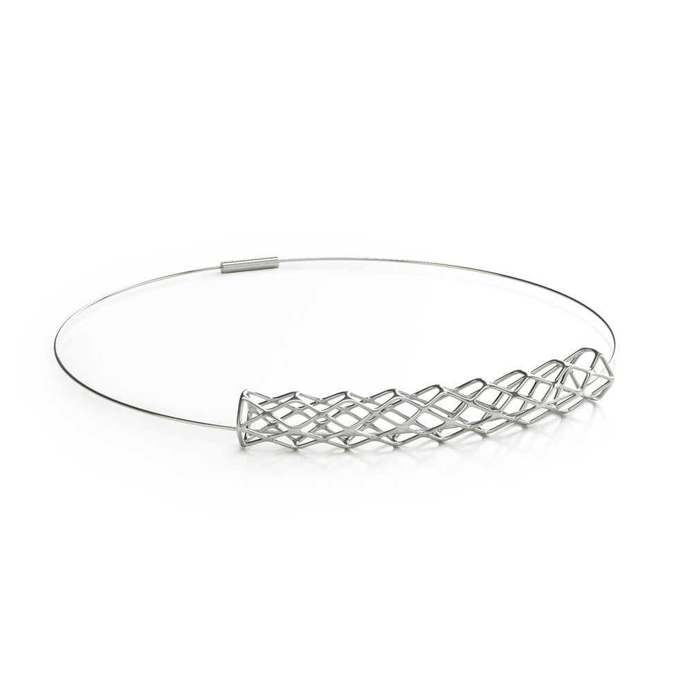 The GRID Necklace Collar in 3D Printed Platinum Finished 925 Sterling SIlver